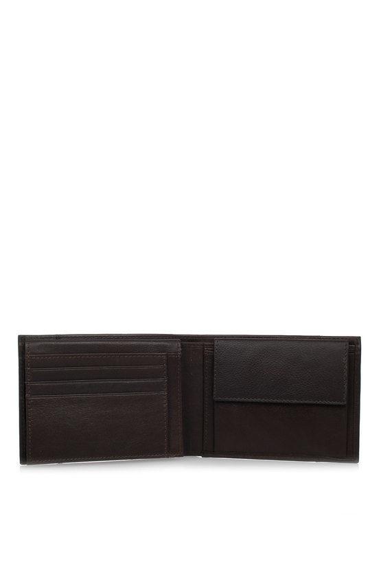 PULSE Portafoglio con Portamonete, Documenti e Carte di Credito Marrone