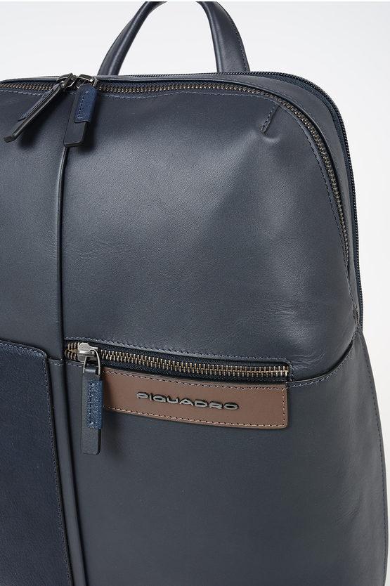 VANGUARD Zaino In Pelle Porta Notebook e Ipad Blu