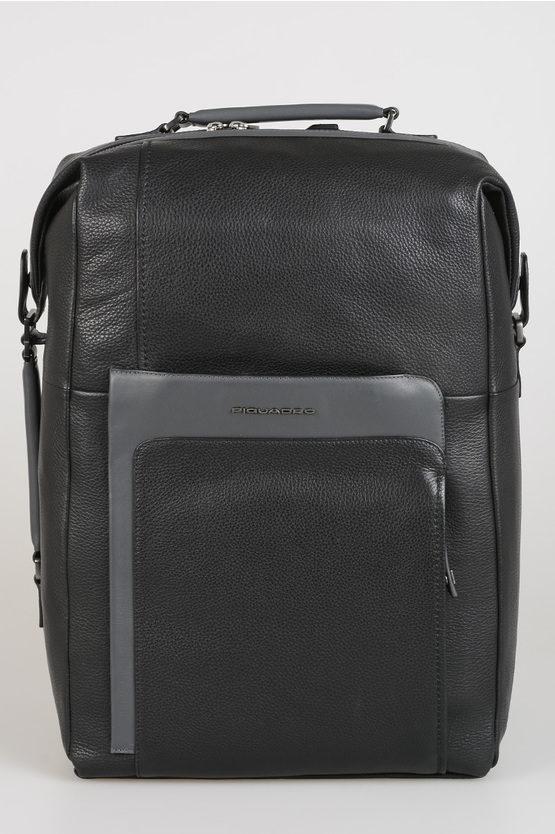 Zaino in pelle Multi Tasca con TSA Nero